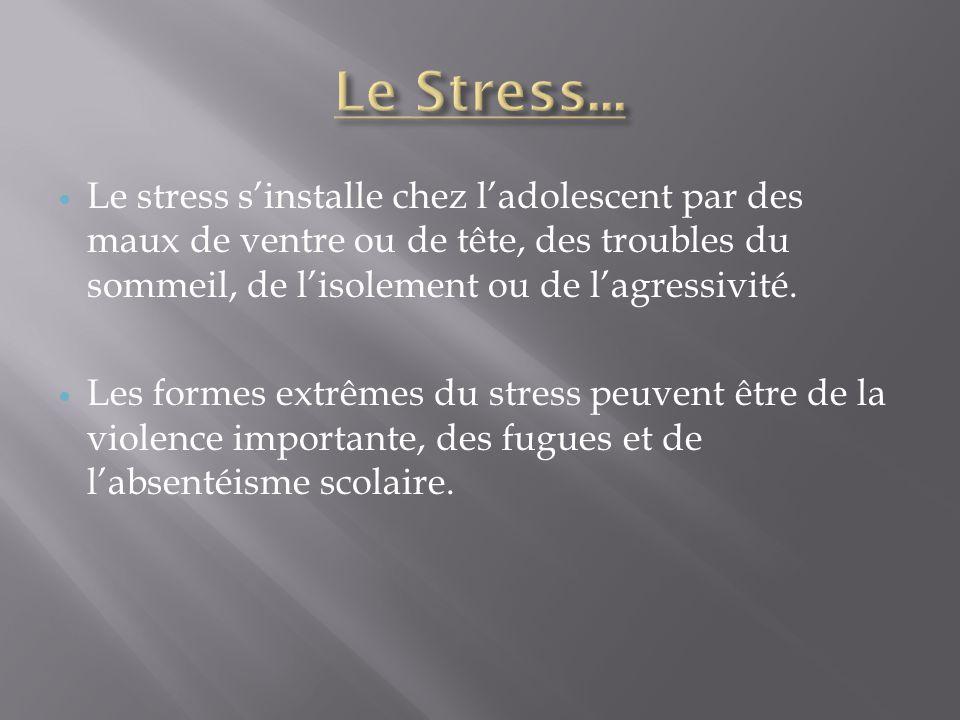 Le Stress... Le stress s'installe chez l'adolescent par des maux de ventre ou de tête, des troubles du sommeil, de l'isolement ou de l'agressivité.
