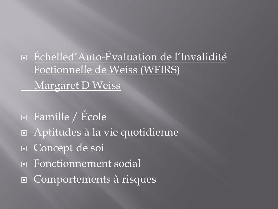 Échelled'Auto-Évaluation de l'Invalidité Foctionnelle de Weiss (WFIRS)