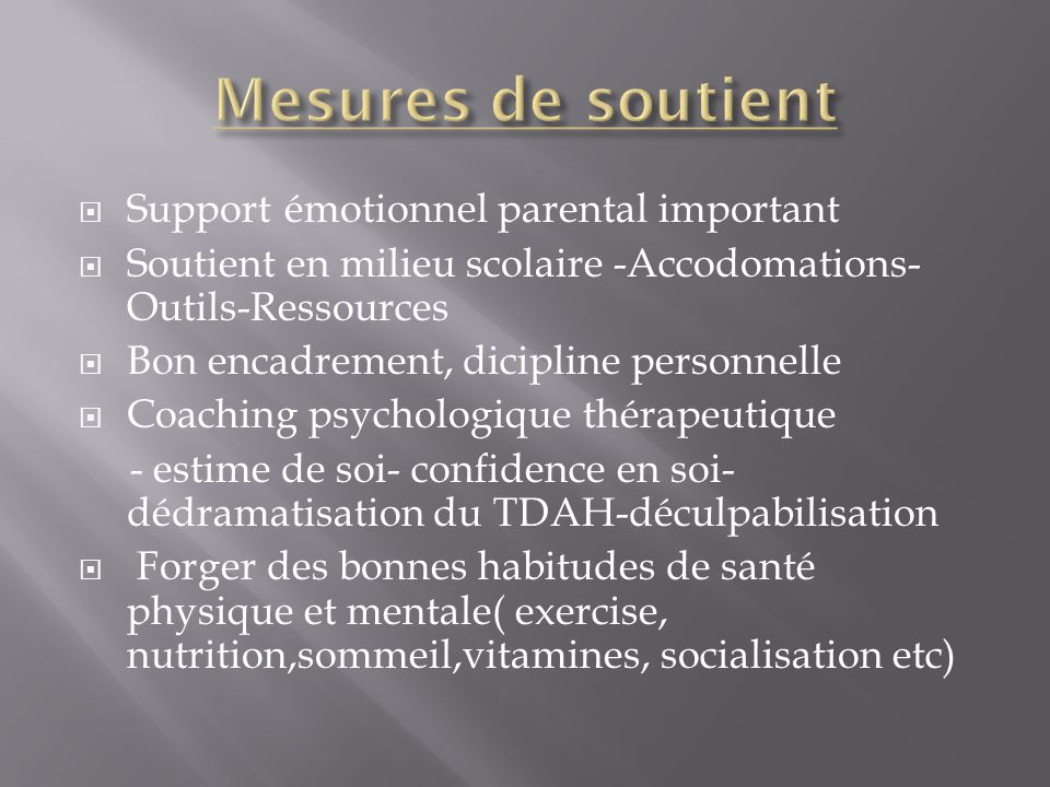 Mesures de soutient Support émotionnel parental important