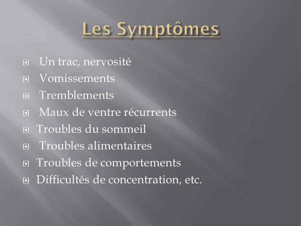 Les Symptômes Un trac, nervosité Vomissements Tremblements