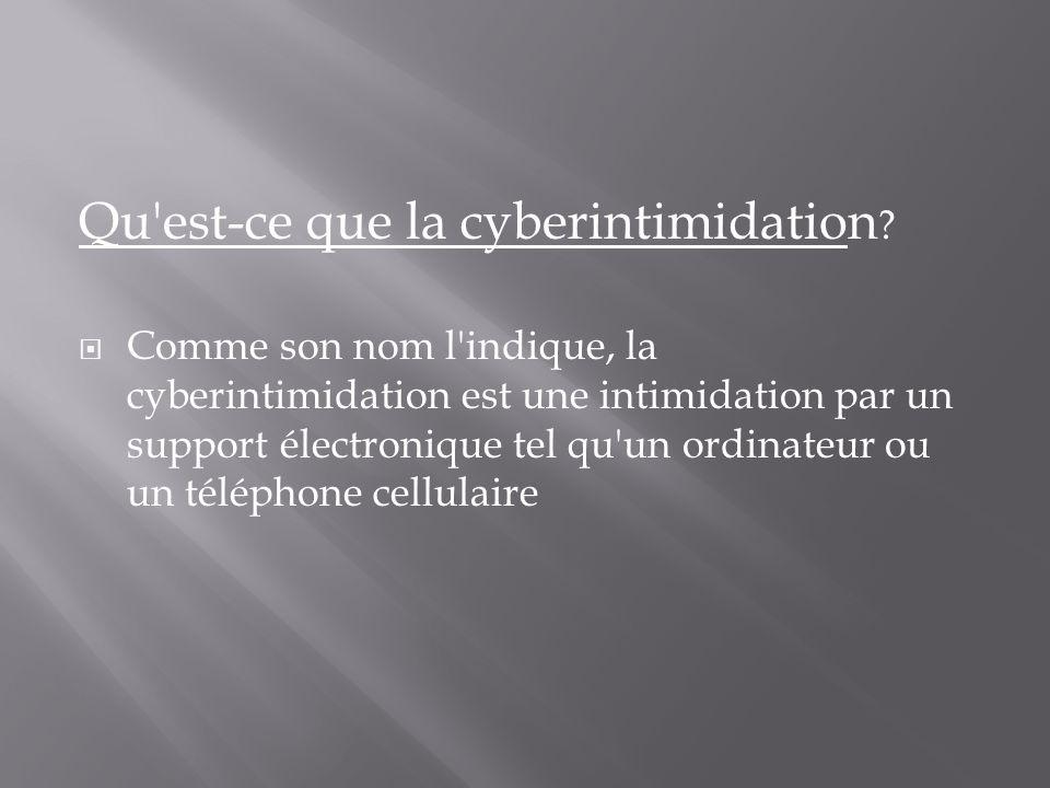 Qu est-ce que la cyberintimidation