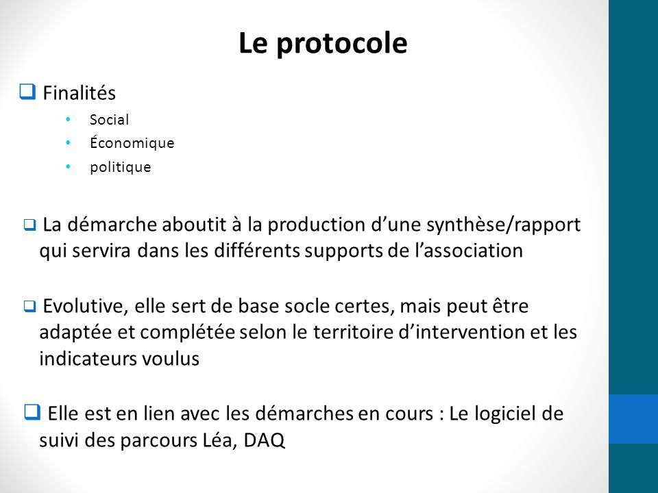 Le protocole Finalités