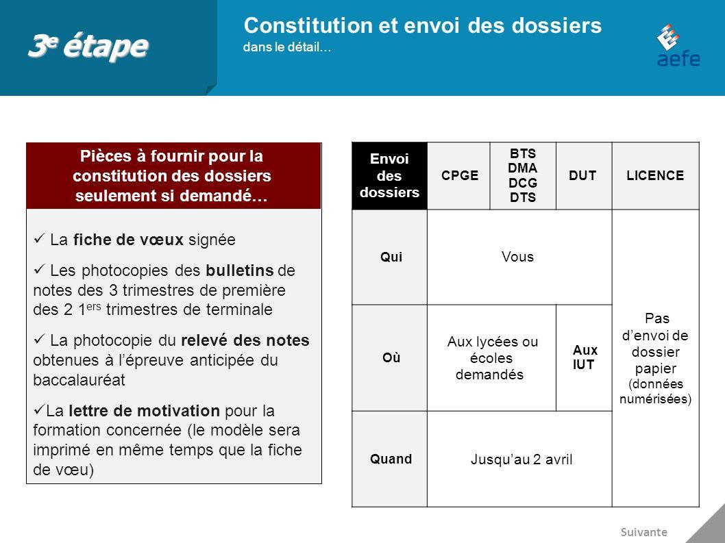 3e étape Constitution et envoi des dossiers dans le détail…
