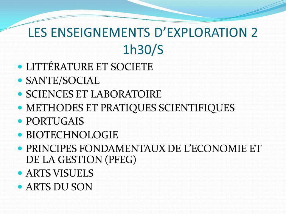 LES ENSEIGNEMENTS D'EXPLORATION 2 1h30/S