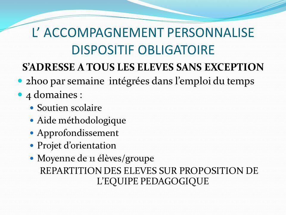 L' ACCOMPAGNEMENT PERSONNALISE DISPOSITIF OBLIGATOIRE