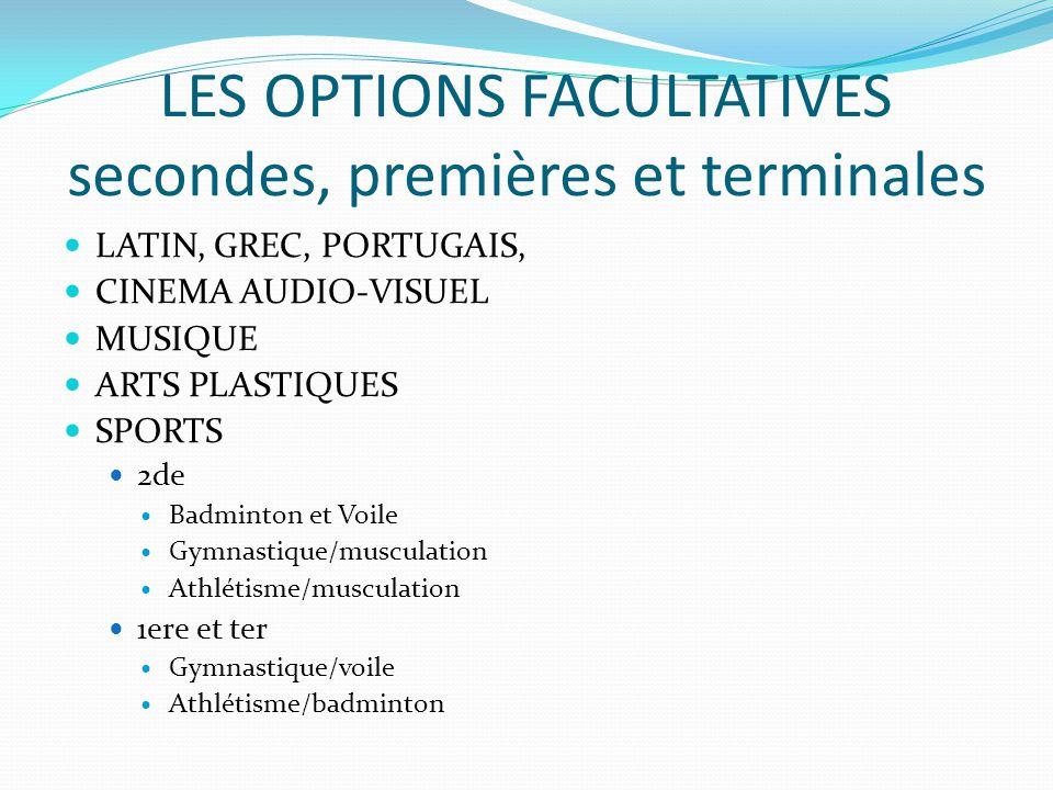 LES OPTIONS FACULTATIVES secondes, premières et terminales