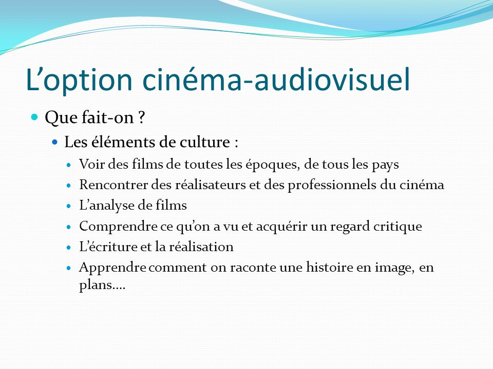 L'option cinéma-audiovisuel