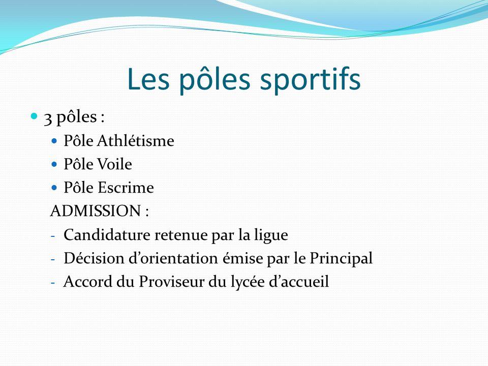 Les pôles sportifs 3 pôles : Pôle Athlétisme Pôle Voile Pôle Escrime