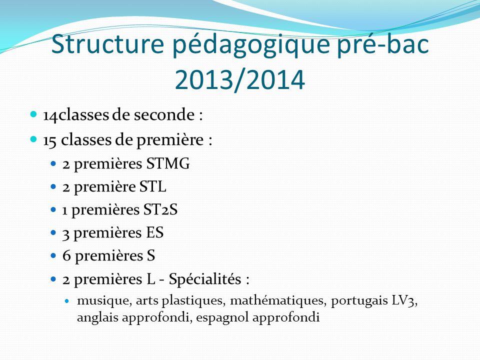Structure pédagogique pré-bac 2013/2014