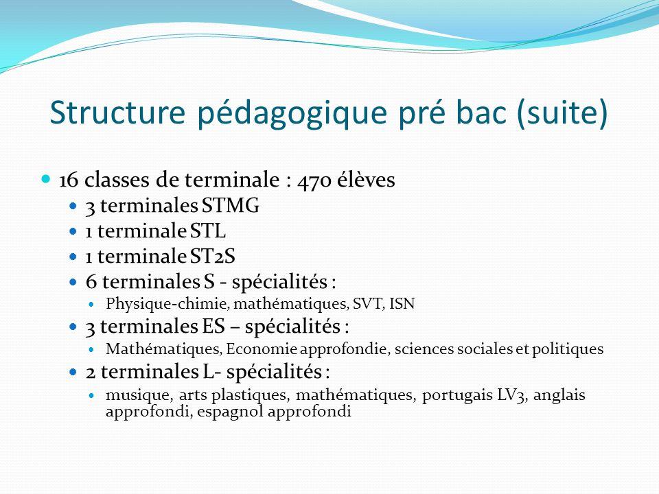 Structure pédagogique pré bac (suite)