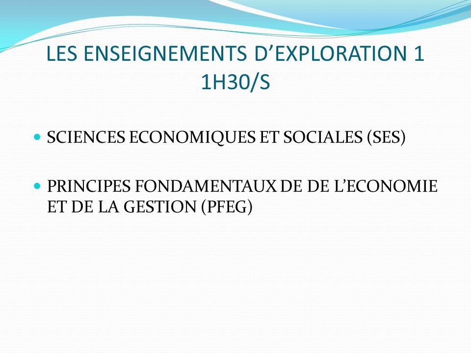 LES ENSEIGNEMENTS D'EXPLORATION 1 1H30/S