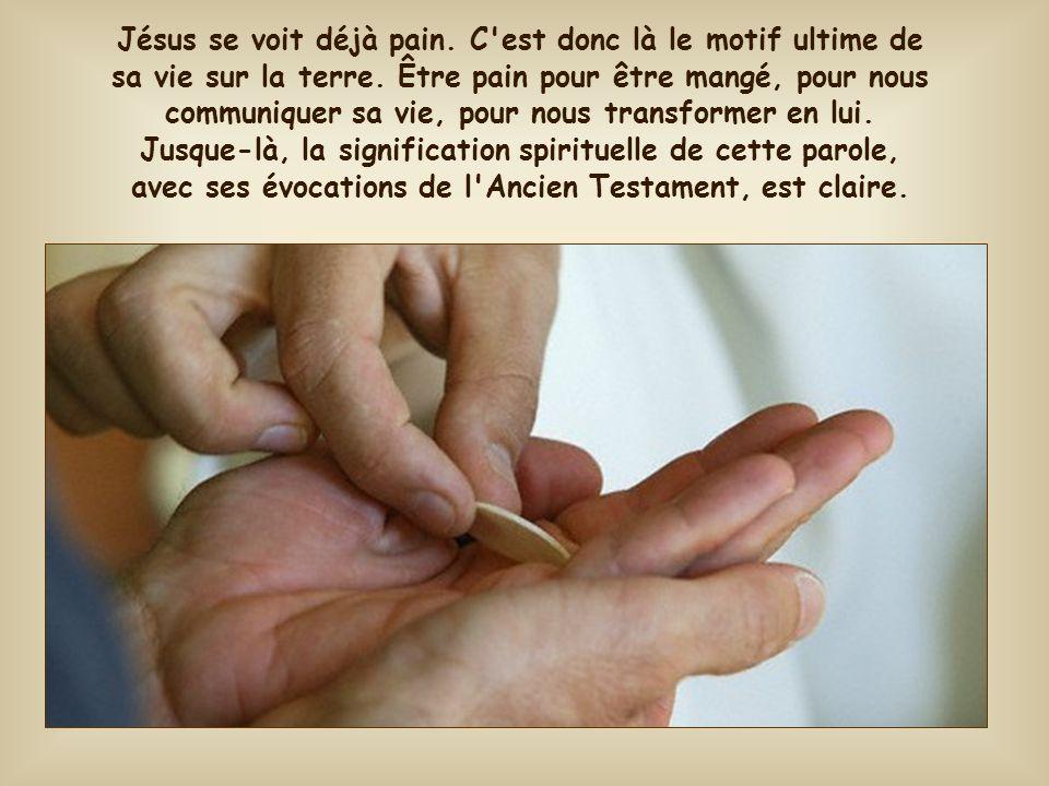 Jésus se voit déjà pain. C est donc là le motif ultime de sa vie sur la terre.