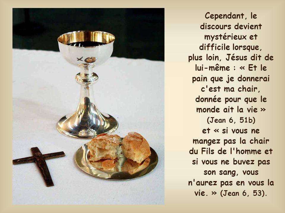 Cependant, le discours devient mystérieux et difficile lorsque, plus loin, Jésus dit de lui-même : « Et le pain que je donnerai c est ma chair, donnée pour que le monde ait la vie » (Jean 6, 51b) et « si vous ne mangez pas la chair du Fils de l homme et si vous ne buvez pas son sang, vous n aurez pas en vous la vie. » (Jean 6, 53).
