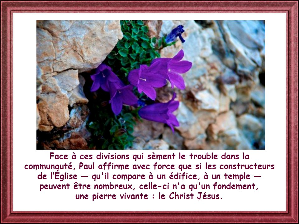 Face à ces divisions qui sèment le trouble dans la communauté, Paul affirme avec force que si les constructeurs de l'Église — qu il compare à un édifice, à un temple — peuvent être nombreux, celle-ci n a qu un fondement, une pierre vivante : le Christ Jésus.