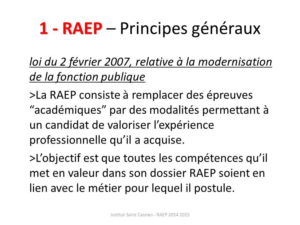 1 - RAEP – Principes généraux