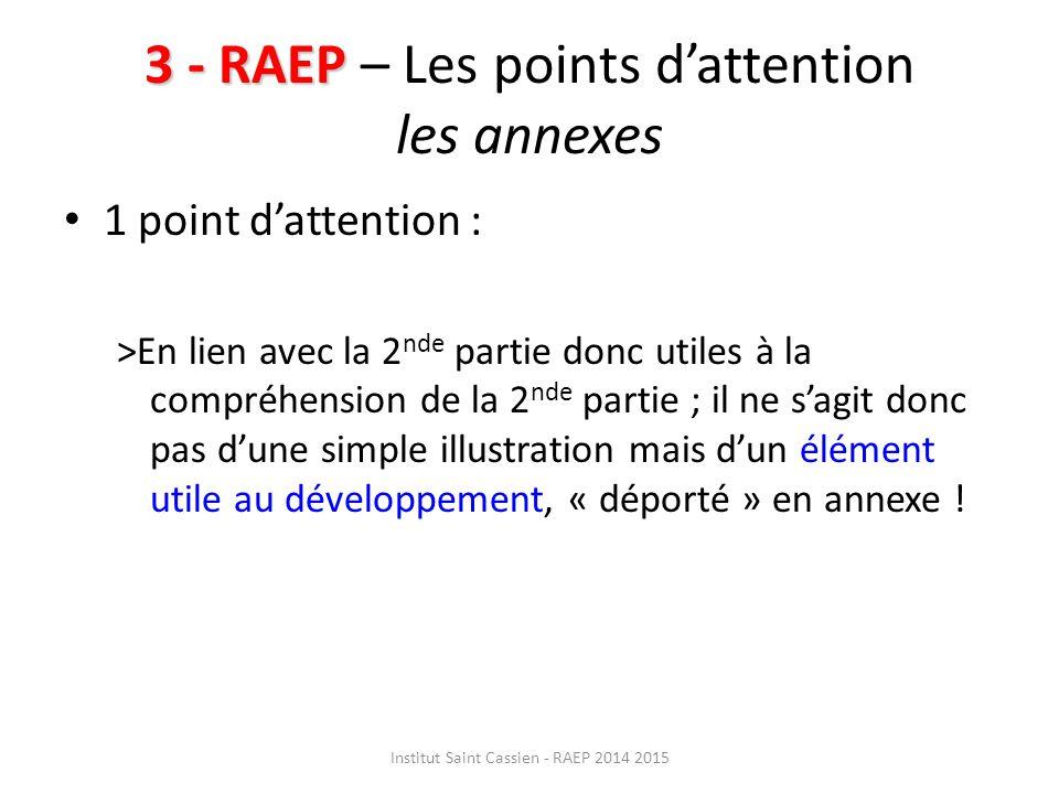 3 - RAEP – Les points d'attention les annexes