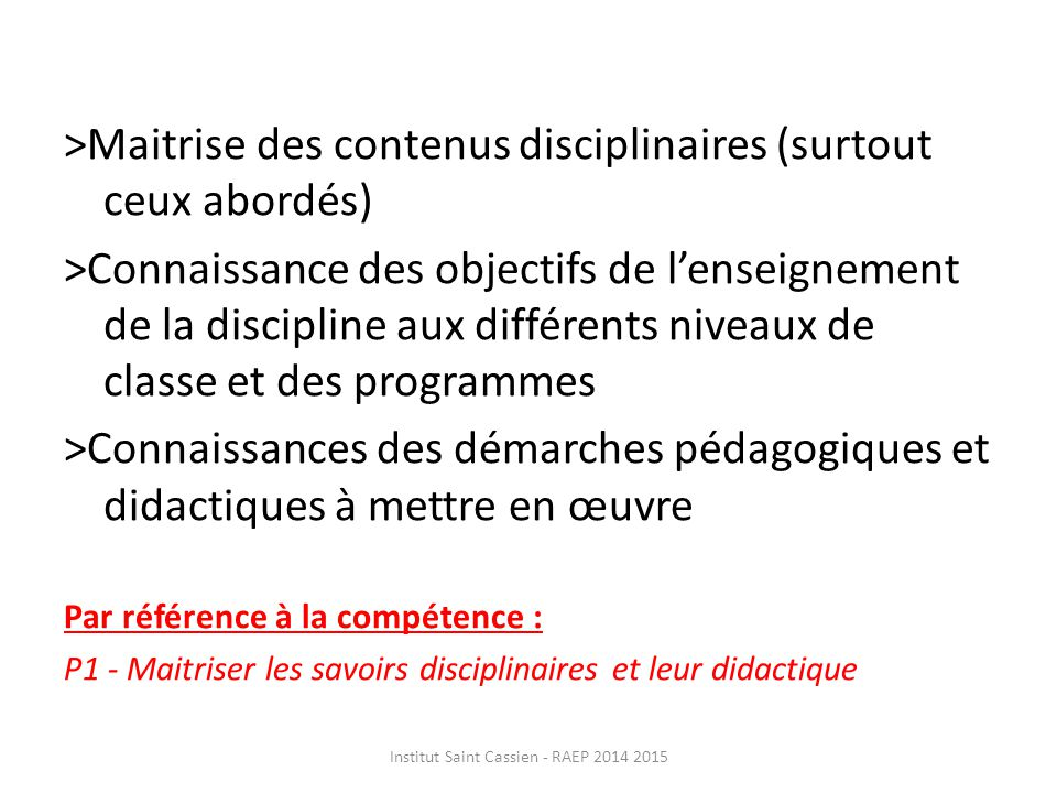 Institut Saint Cassien - RAEP 2014 2015