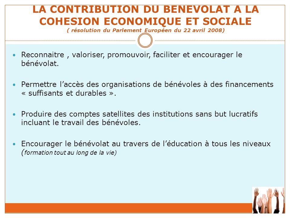 LA CONTRIBUTION DU BENEVOLAT A LA COHESION ECONOMIQUE ET SOCIALE ( résolution du Parlement Européen du 22 avril 2008)