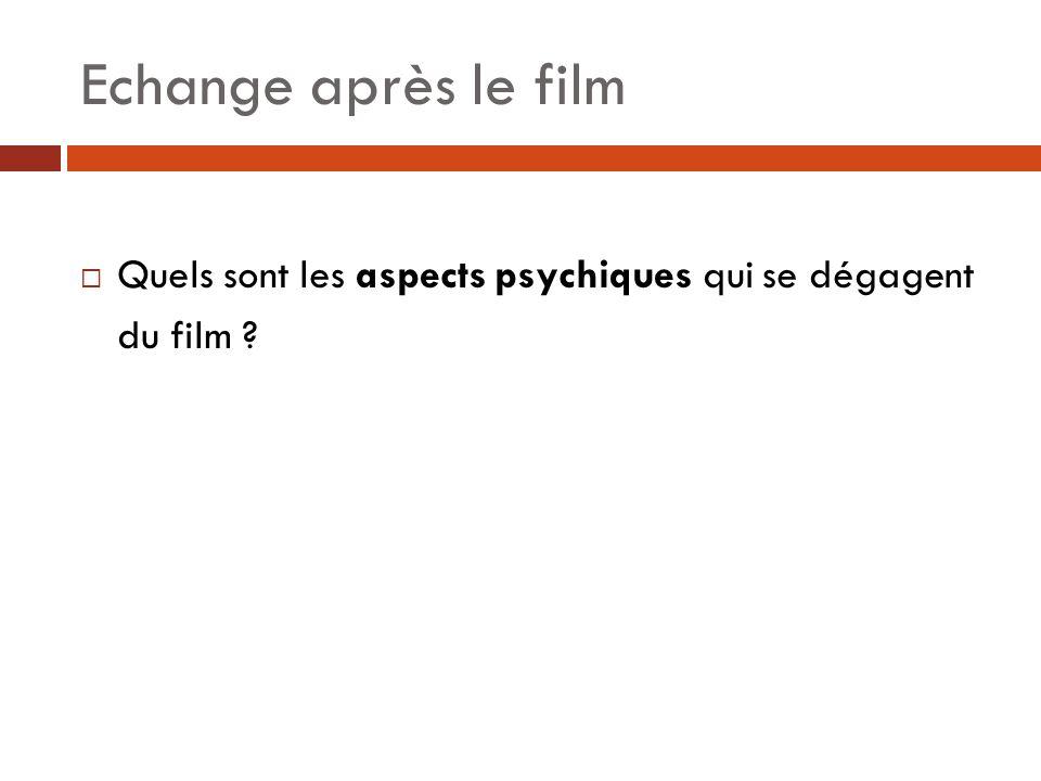 Echange après le film Quels sont les aspects psychiques qui se dégagent du film