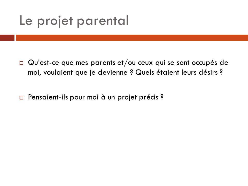 Le projet parental Qu'est-ce que mes parents et/ou ceux qui se sont occupés de moi, voulaient que je devienne Quels étaient leurs désirs