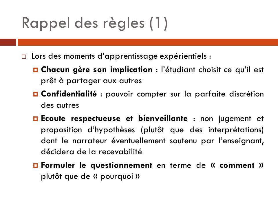 Rappel des règles (1) Lors des moments d'apprentissage expérientiels :