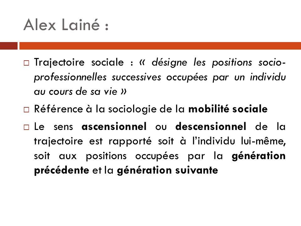 Alex Lainé : Trajectoire sociale : « désigne les positions socio- professionnelles successives occupées par un individu au cours de sa vie »