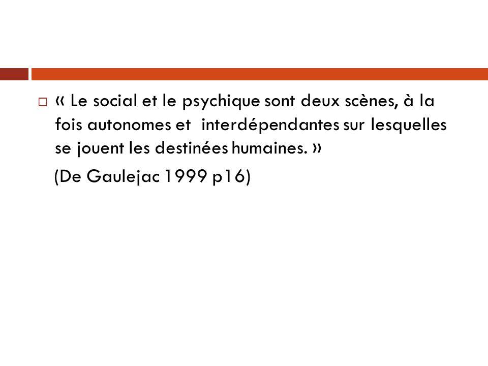 « Le social et le psychique sont deux scènes, à la fois autonomes et interdépendantes sur lesquelles se jouent les destinées humaines. »