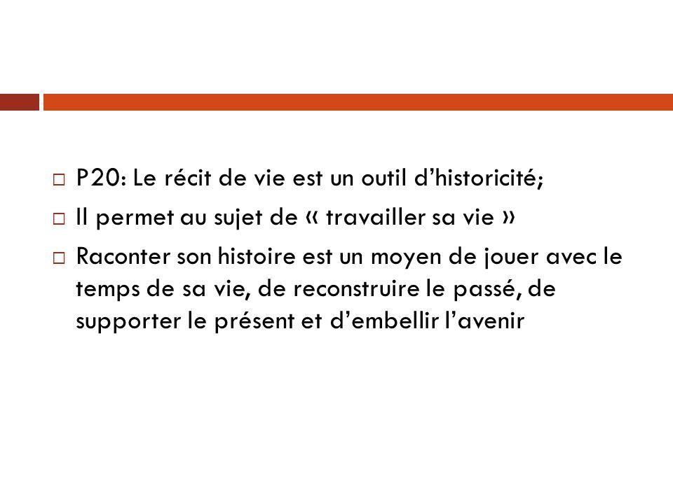 P20: Le récit de vie est un outil d'historicité;