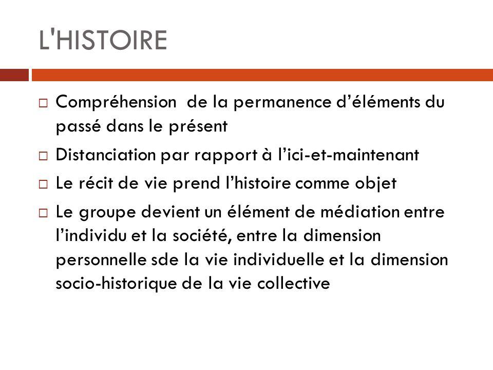 L HISTOIRE Compréhension de la permanence d'éléments du passé dans le présent. Distanciation par rapport à l'ici-et-maintenant.