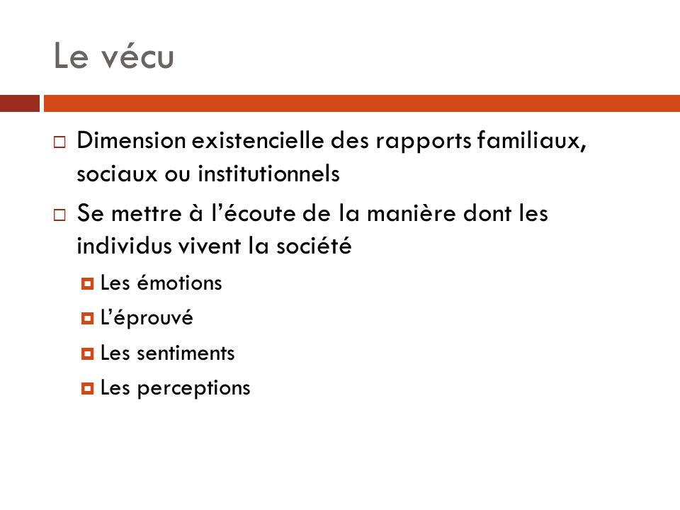 Le vécu Dimension existencielle des rapports familiaux, sociaux ou institutionnels.
