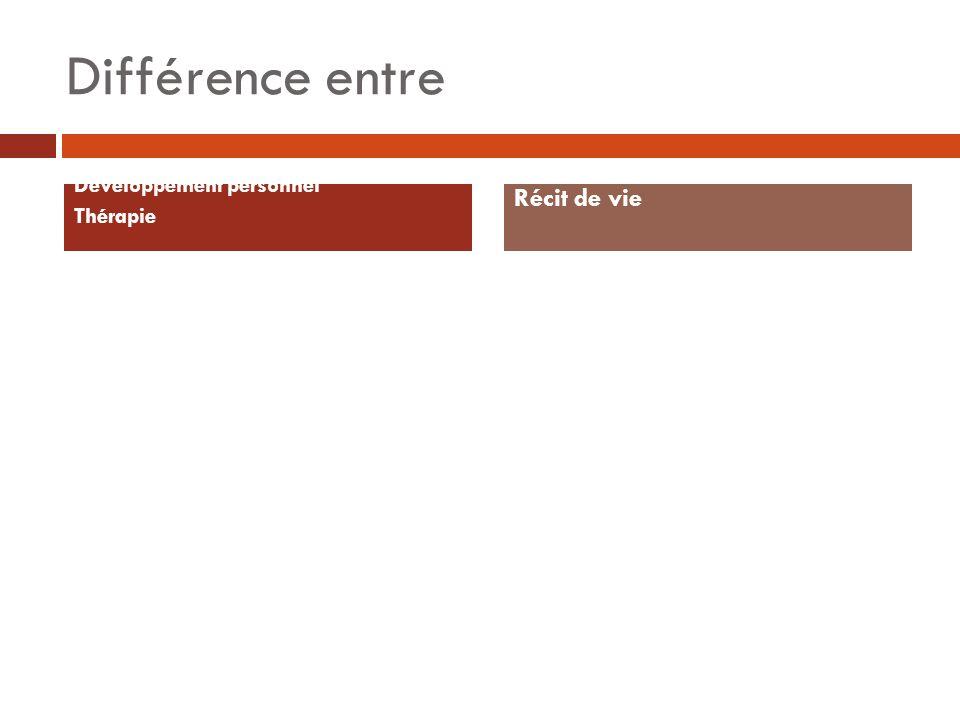 Différence entre Développement personnel Thérapie Récit de vie
