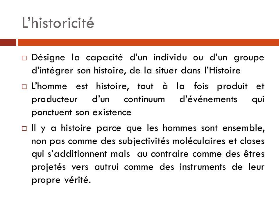 L'historicité Désigne la capacité d'un individu ou d'un groupe d'intégrer son histoire, de la situer dans l'Histoire.