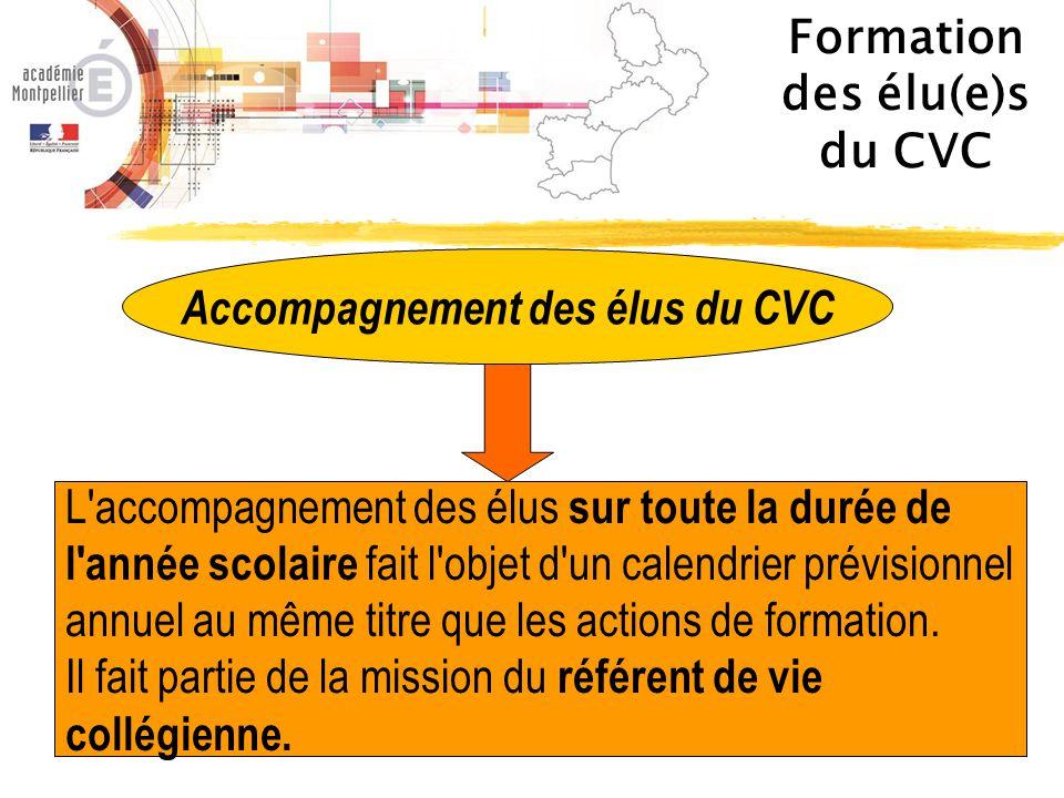 Formation des élu(e)s du CVC Accompagnement des élus du CVC