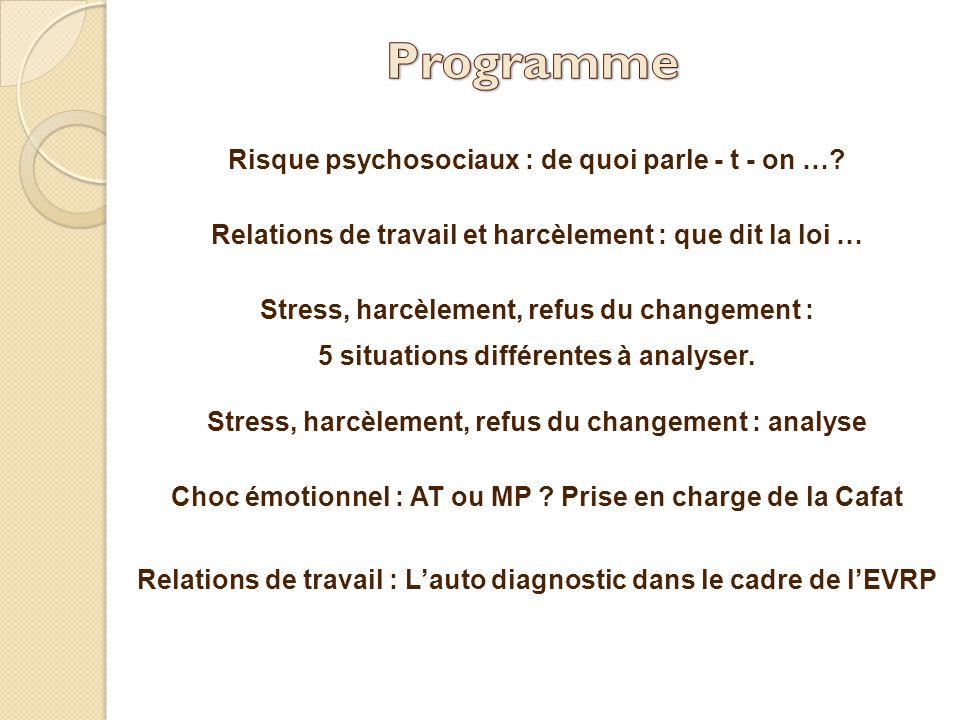 Programme Risque psychosociaux : de quoi parle - t - on …
