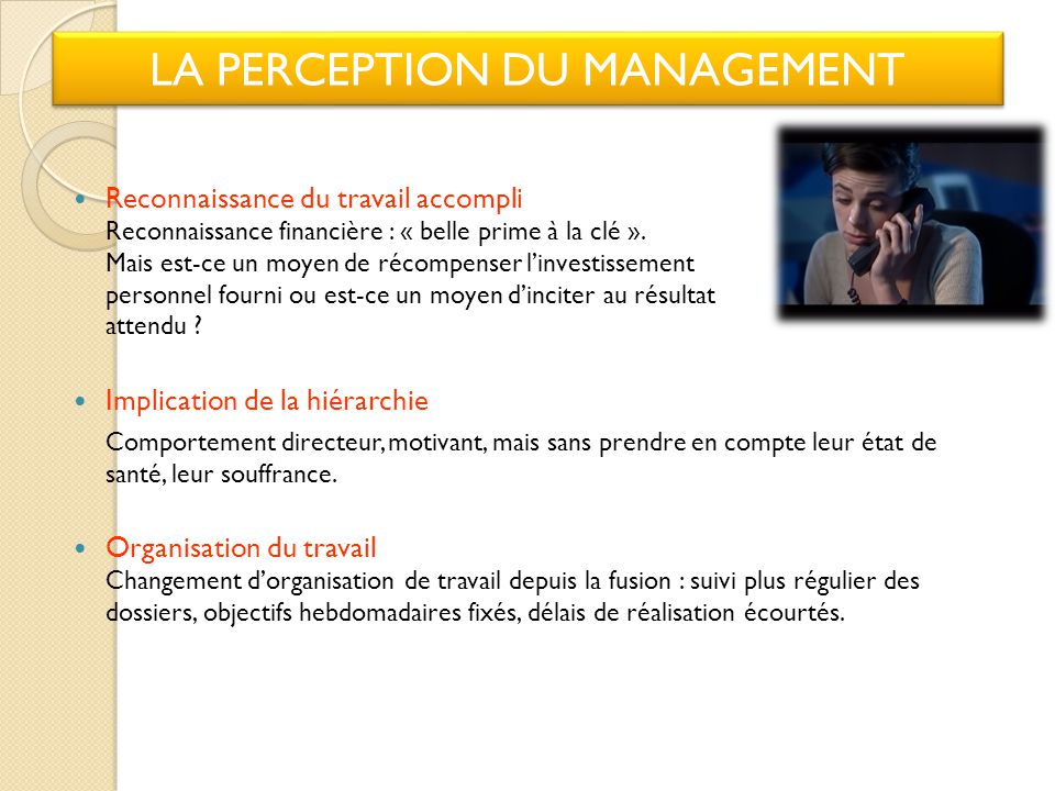 LA PERCEPTION DU MANAGEMENT
