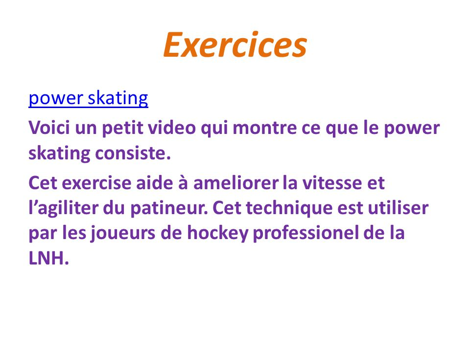 Exercices power skating
