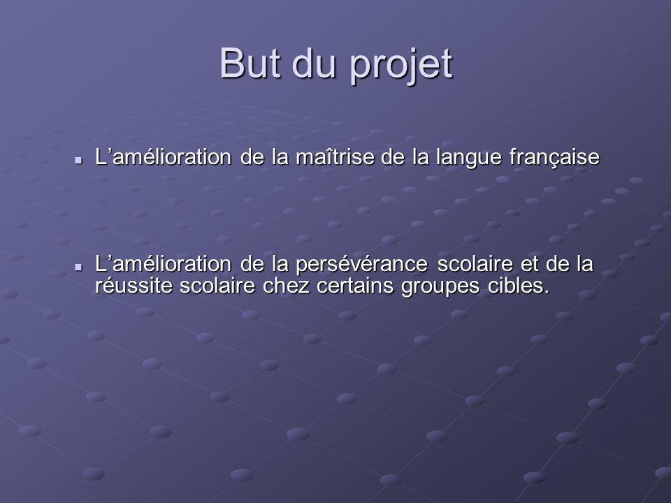 But du projet L'amélioration de la maîtrise de la langue française