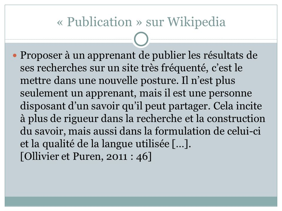 « Publication » sur Wikipedia