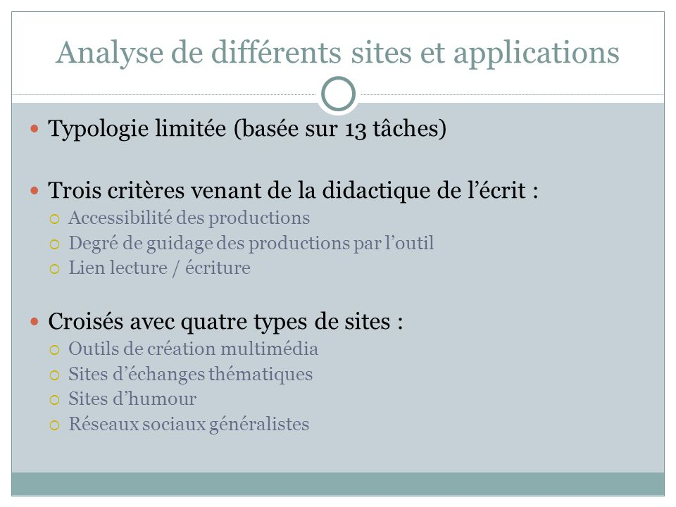 Analyse de différents sites et applications
