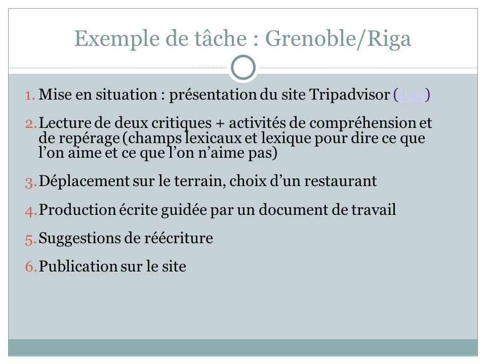 Exemple de tâche : Grenoble/Riga