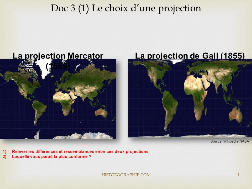 La projection Mercator (1569) La projection de Gall (1855)