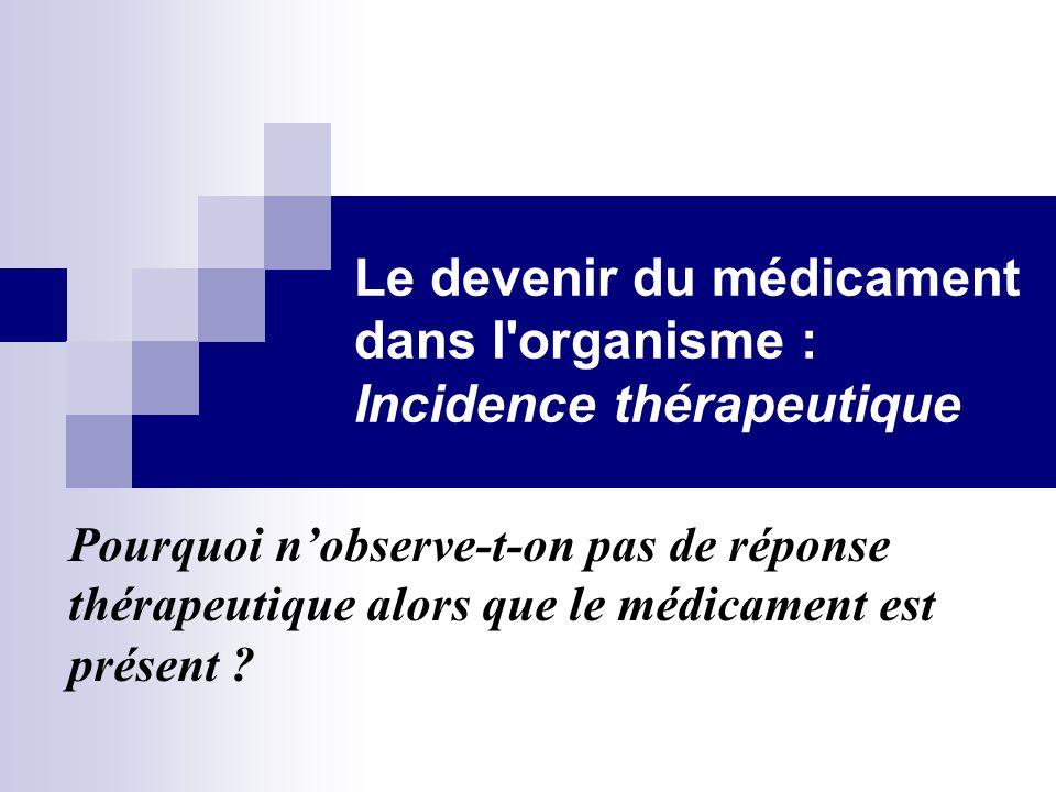 Le devenir du médicament dans l organisme : Incidence thérapeutique