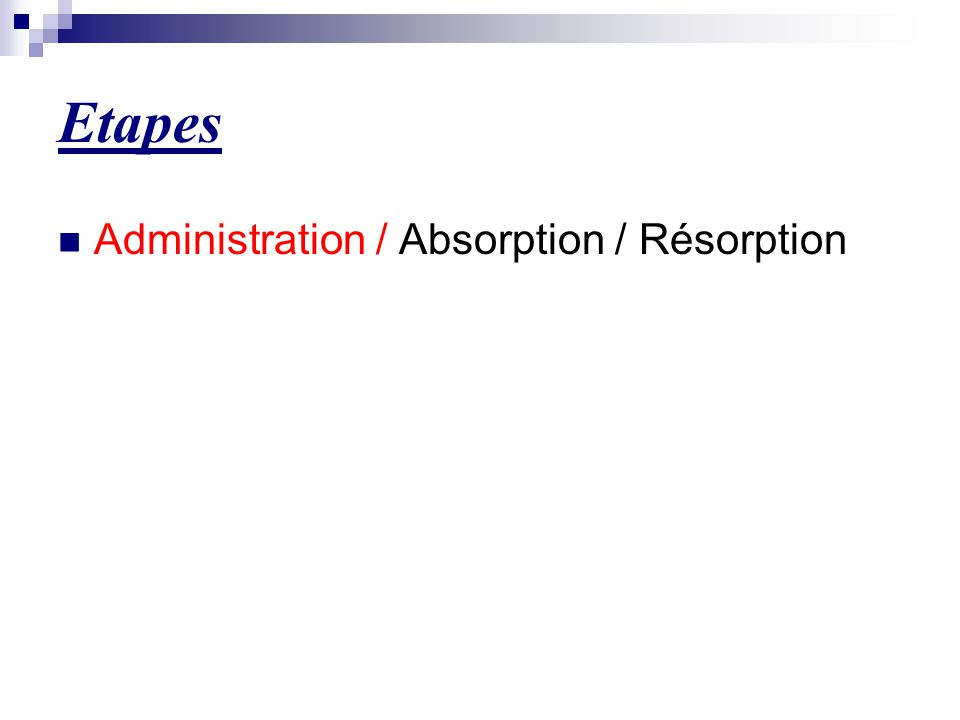 Etapes Administration / Absorption / Résorption