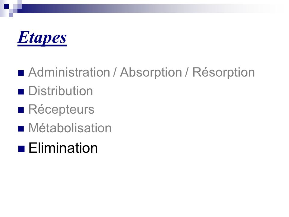 Etapes Elimination Administration / Absorption / Résorption