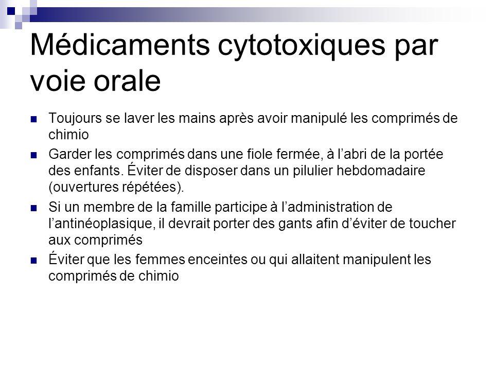 Médicaments cytotoxiques par voie orale