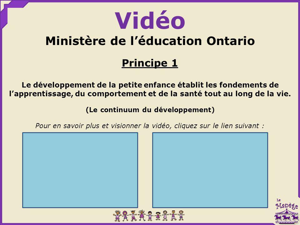 Ministère de l'éducation Ontario (Le continuum du développement)