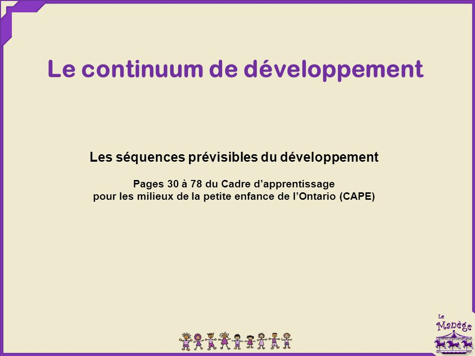 Le continuum de développement