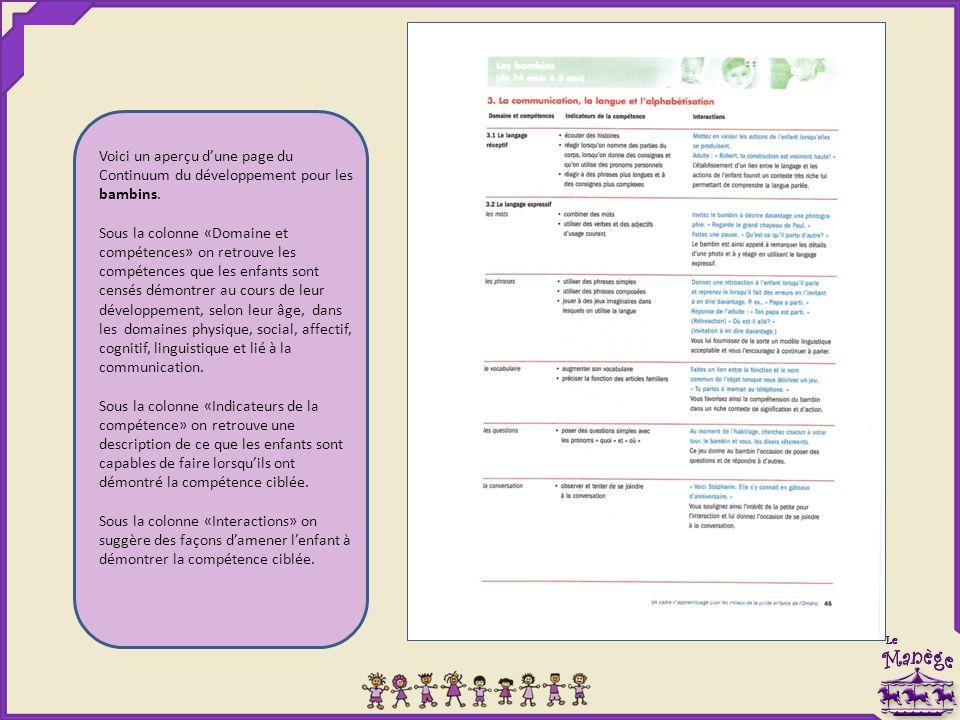 Voici un aperçu d'une page du Continuum du développement pour les bambins.