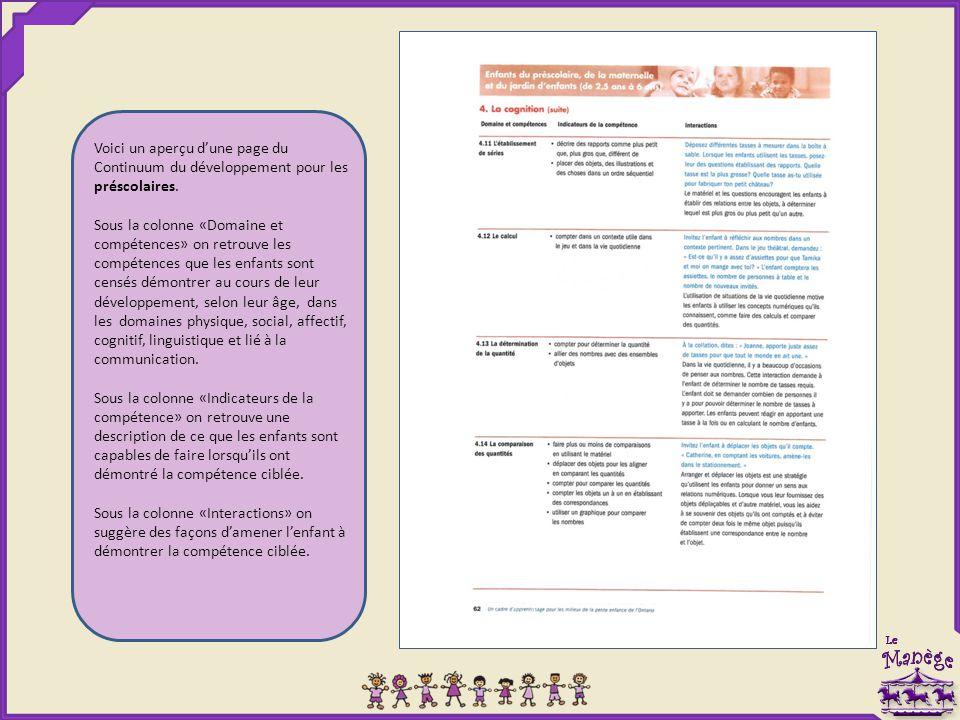 Voici un aperçu d'une page du Continuum du développement pour les préscolaires.