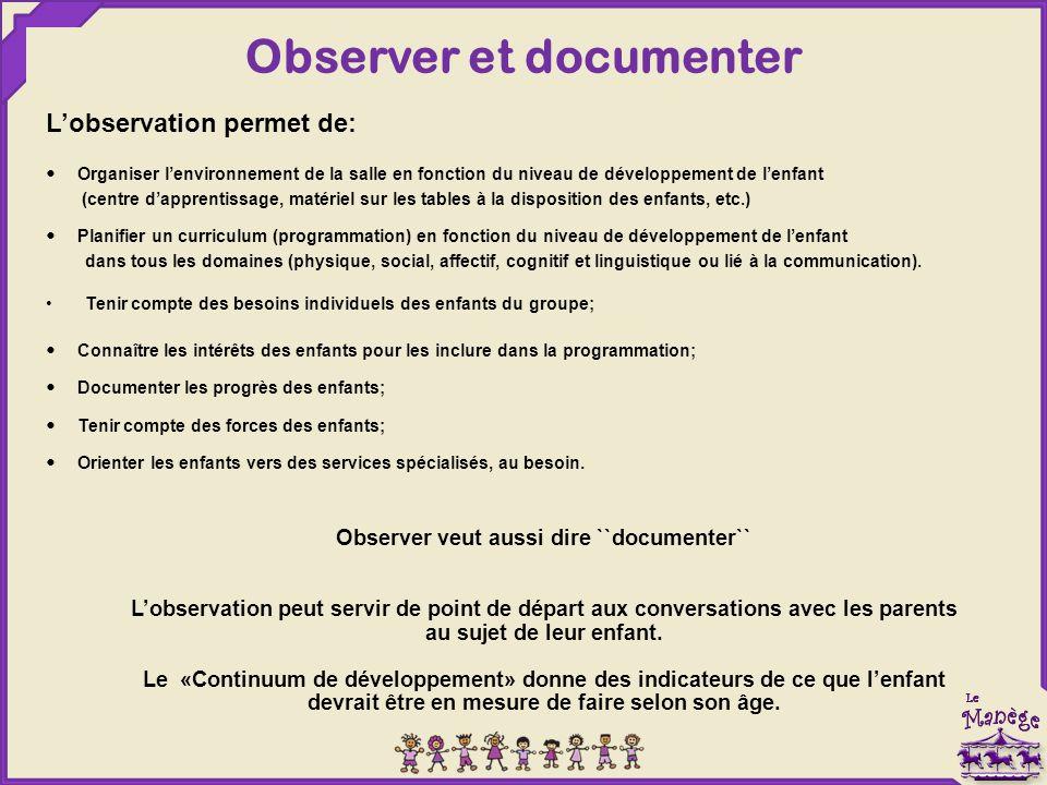Observer et documenter